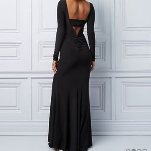 Long navy blue open back gown (no slit)